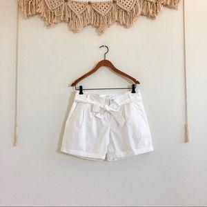 NWT Loft Airy Cotton White Shorts w/ Bow Belt